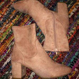 Pink Velvet sock boots